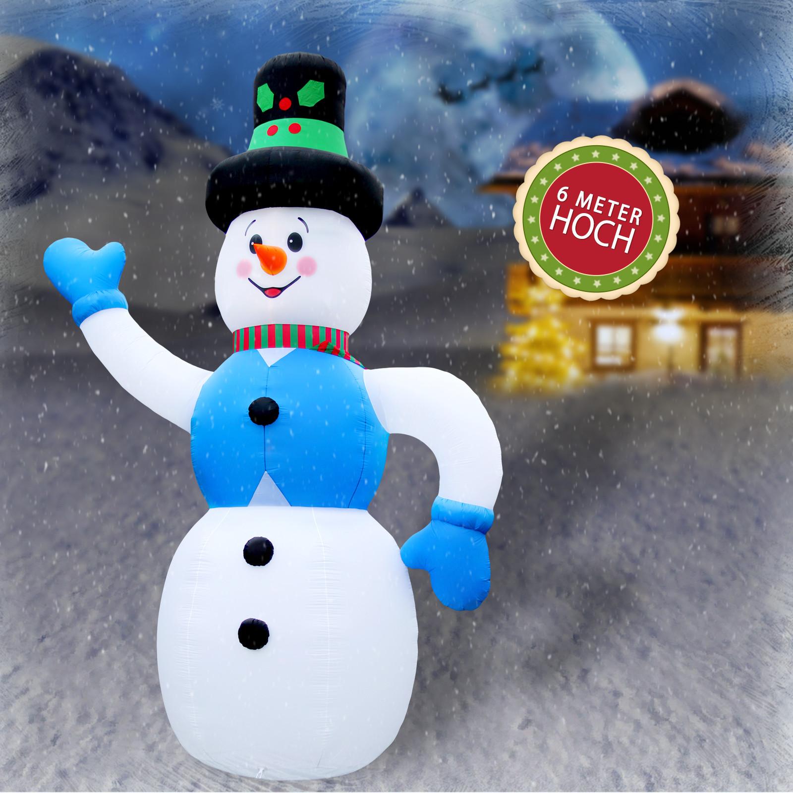 weihnachtsdeko xxl 6 meter schneemann inflatable mit beleuchtung dekoration. Black Bedroom Furniture Sets. Home Design Ideas