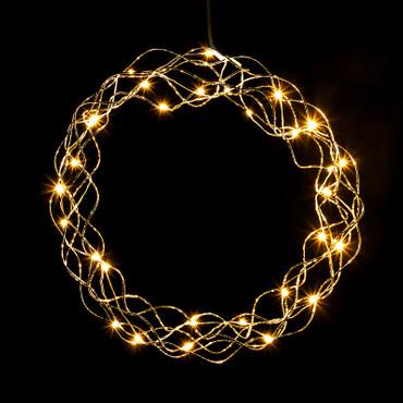 LED Kranz in kaltweiß oder warmweiß mit Timer-Funktion und Batterie (30 cm) – Bild 1