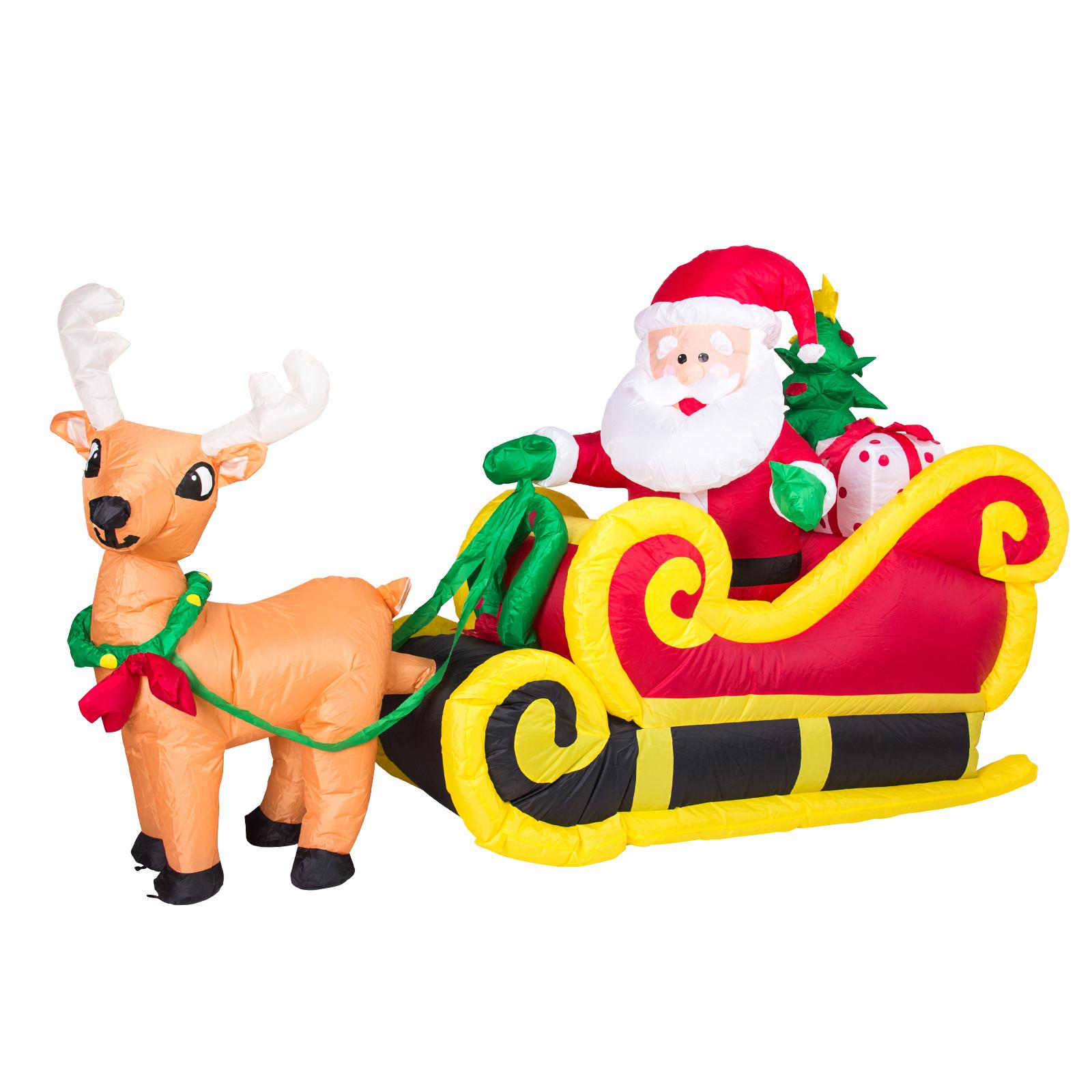 aufblasbarer weihnachtsmann mit schlitten rentier