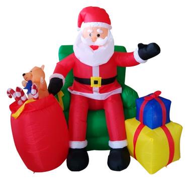 Weihnachtsmann im Sessel mit Geschenken Inflatable Figur (150 cm hoch) – Bild 1