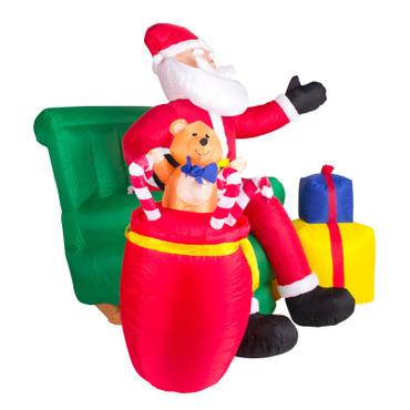 Weihnachtsmann im Sessel mit Geschenken Inflatable Figur (150 cm hoch) – Bild 6