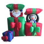 Weihnachtsmann und Pinguin in Geschenkbox Inflatable Figur (120 cm hoch) 001