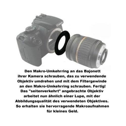 55mm Makro-Umkehrring Retroadapter für Nikon F Bajonett Kamera Bild 2