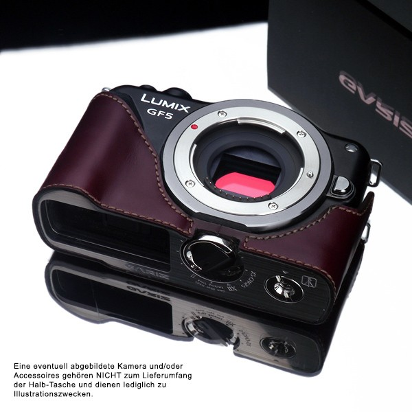 GARIZ real leather designer half case for PANASONIC Lumix DMC-GF5 ( XS-CHGF5BR ) Bild 1
