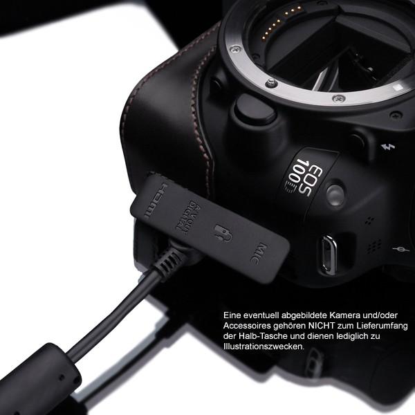 GARIZ real leather designer half case for CANON EOS 100D ( XS-CH100DBK ) Bild 4