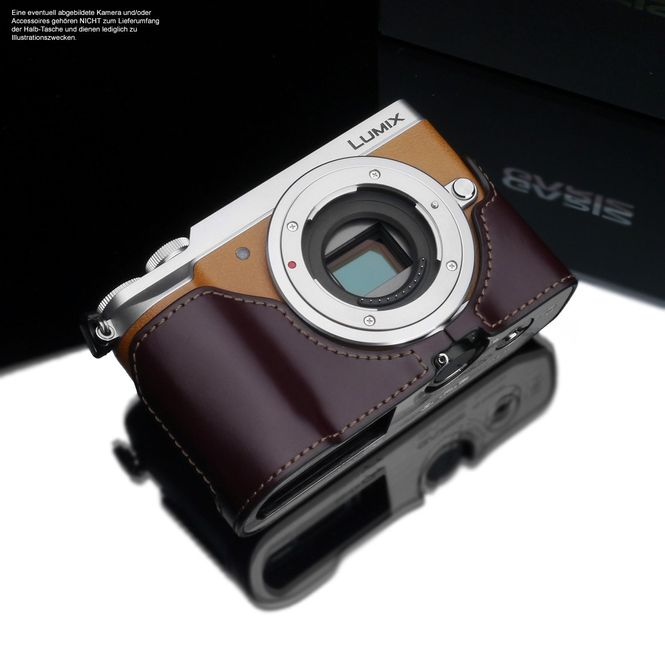 GARIZ real leather designer half case for Panasonic Lumix DMC-GX80 / XS-CHGX85BR Bild 1