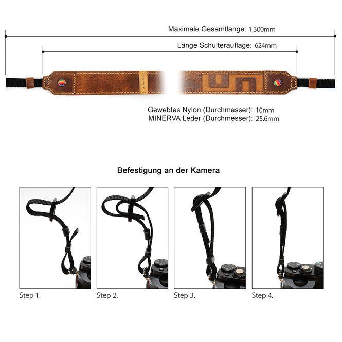 LIM'S Minerva Box Leder Nylon Kamera Gurt Schultergurt Trageriemen / LE-MGLNSYL Bild 4
