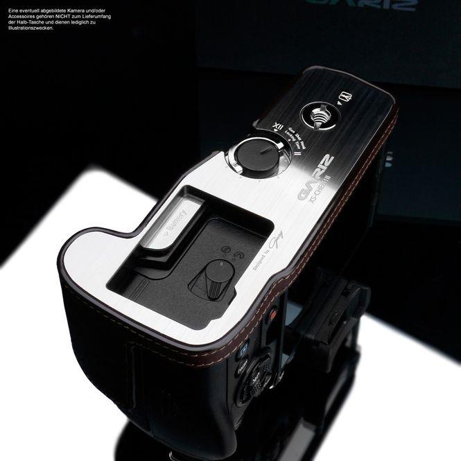 Stylische Kameratasche aus braunem Leder für Olympus OM-D E‑M1 Mark II von GARIZ Bild 3
