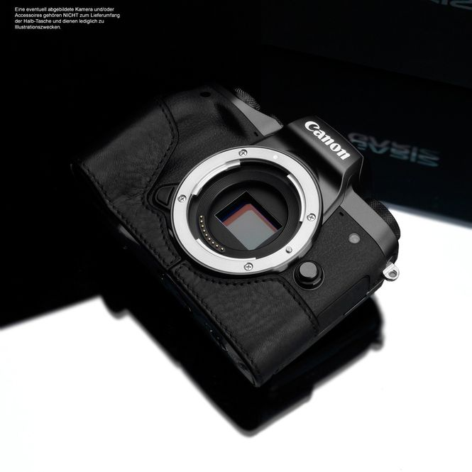 Kameratasche für Systemkamera Canon EOS M5 aus Leder in Schwarz von GARIZ Design Bild 4