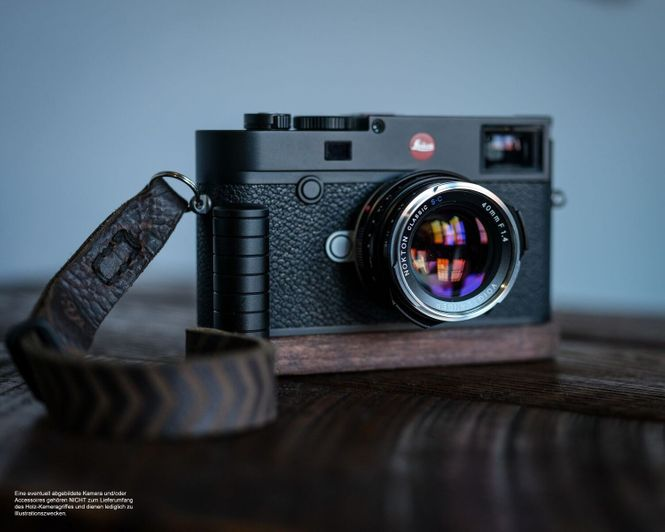 Kameragriff für Leica M10 handgefertigt aus Walnuss Holz und Aluminium Bild 2