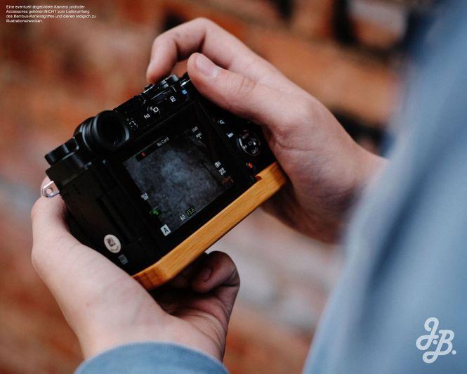 Kameragriff für Olympus Pen-F handgefertigt in USA aus Bambus und Aluminium Bild 4