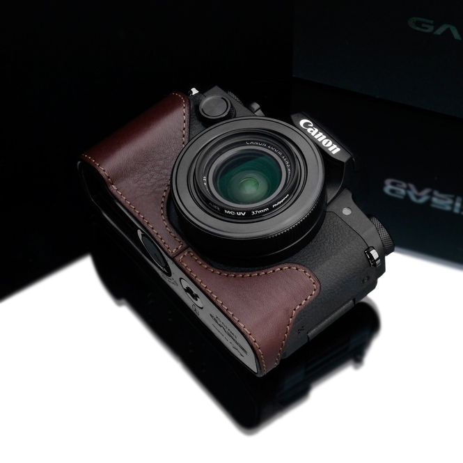 GARIZ real leather designer half case for CANON G1X Mark II (2) / XS-CHG1X2BR Bild 2