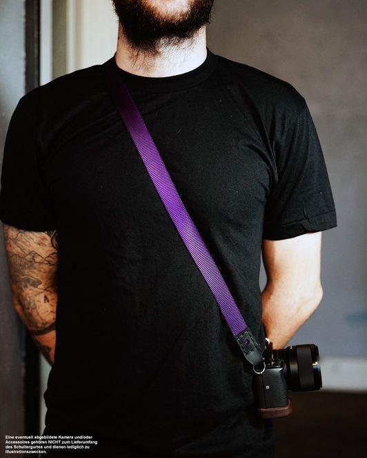 Kameragurt aus Nylon und Leder | JB Camera Designs | Lila Schwarz | Handmade Bild 4