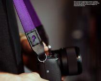 Kameragurt aus Nylon und Leder | JB Camera Designs | Lila Schwarz | Handmade Bild 3