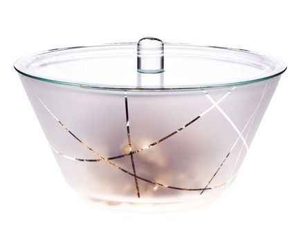 Bowl GLOBE 1.5l with lid - satined, with strips 1