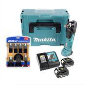 Makita DTM 51 RMJ 18 V Li-Ion Akku Multifunktion Werkzeug im Makpac + 2x 4,0 Ah Akku + Ladegerät + WellCut MT-8 8 tlg. Sägeblätter Set