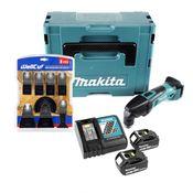 Makita DTM 50 RMJ 18V Li-Ion Akku Multifunktion Werkzeug im Makpac + 2x 4,0 Ah Akku + DC18RC Ladegerät + WellCut MT-8 8 tlg. Sägeblätter Set