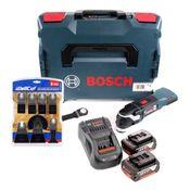 Bosch GOP 18V-28 Akku Multi-Cutter Starlock Plus Brushless + 2x Akku 5,0Ah + Ladegerät + L-Boxx + WellCut MT-8 8tlg. Sägeblätterset