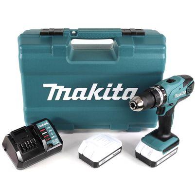 Makita HP 457 DWE 10 - 18 V Akku Schlagbohrschrauber + 2 x 1,3 Ah Akku + Ladegerät + 74 tlg. Zubehör Set im Werkzeugkoffer – Bild 2