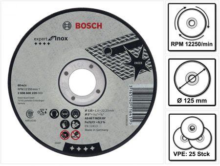 Bosch GWS 850 CE 850 Watt 125 mm Winkelschleifer ( 0601378790 ) + 25 x Bosch AS 60 T INOX BF Trennscheibe 125 x 1,0 mm ( 2608600549 ) – Bild 4
