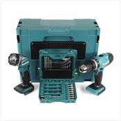 Makita DHP 453 18 V Akku Schlagbohrschrauber im Makpac + DML 802 Akku Lampe + 60 tlg. Bit/Bohrer Set