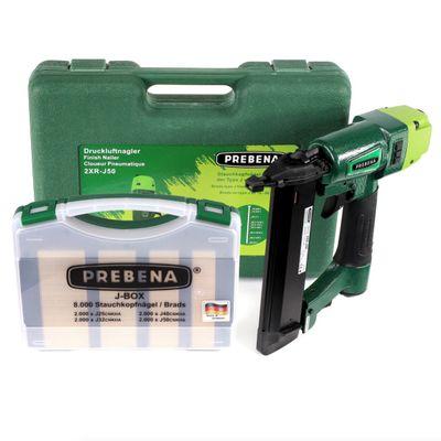 Prebena 2XR-J50 Luftdruck Druckluftnagler im Transportkoffer + J-BOX 8.000 Stauchkopfnägel / Brads – Bild 2