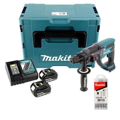 Makita DHR 202 RTJ 18 V Li-ion Perforateur-Burineur sans fil SDS-Plus avec Boîtier Makpac + 2x Batteries BL 1850 5,0 Ah + Chargeur rapide DC 18 RC + 1x 5 Burins large SDS-Plus – Bild 2