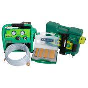 Prebena 2XR-J50 Luftdruck Druckluftnagler im Transportkoffer + Kolbenkompressor VITAS 45 ölfrei 10 bar + J-BOX 8.000 Stauchkopfnägel + Schlauchset