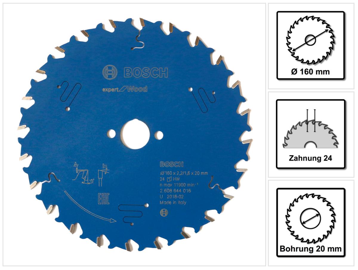 Bosch Kreissägeblatt Expert for Wood 160 x 20 x 2,2 mm 24 Zähne ( 2608644016 )