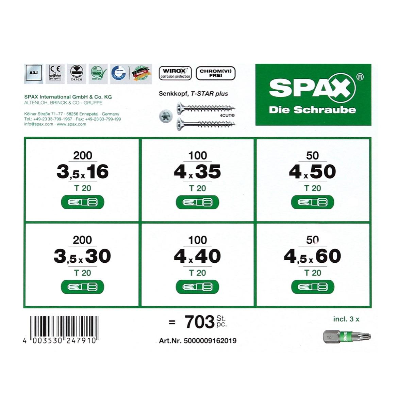 spax® montagekoffer t-star plus schraubenset 703 tlg. mit 6
