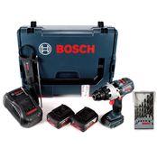 Bosch GSR 18V-85 C Akku Bohrschrauber 18V 110Nm Brushless + Holzbohrer-Set + 2x Akku 5,0Ah + Ladegerät + L-Boxx