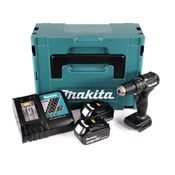 Makita DHP 483 RTJ B Perceuse visseuse à percussion sans fil 18 V noir Brushless en Coffret MAKPAC + 2x Batteries 5,0 Ah + Chargeur rapide