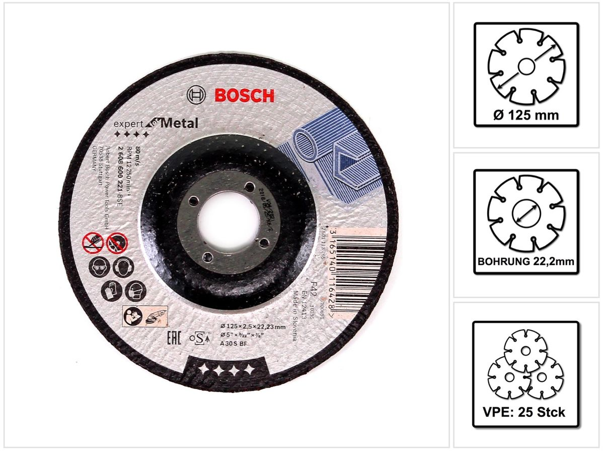25x 2608600549 Bosch AS 60 T INOX BF Trennscheibe 125 x 1,0 mm 25 Stück