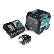 Makita DMR 202 RG1 Baustellen Lautsprecher 18V - für Akku- und Netzbetrieb, mit Bluetooth-Funktion, AUX-Anschluss, USB-Port, LCD Display + 1x  6,0 Ah Akku + Ladegerät