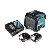 Makita DMR 202 RG Baustellen Lautsprecher 18V - für Akku- und Netzbetrieb, mit Bluetooth-Funktion, AUX-Anschluss, USB-Port, LCD Display + 2x 6,0 Ah Akku + Ladegerät