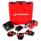 Rothenberger ROMAX Compact TT Set M EU Akku Kompaktpressmaschine mit PB-Set M15-22-28 elektrohydraulisch im Transportkoffer + 1 x 2,0 Ah Akku + Ladegerät + 3 x Pressbacken ( 1000002118 )