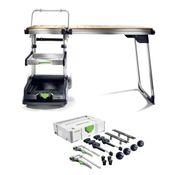 Festool MW 1000 Basic Mobile Werkstatt Werkbank auf Rädern inklusive Auszug + Festool TSB/1-MW 1000 Multifunktionstisch + Festool SYS-MFT Fixing-Set SYS-MFT-FX-Set
