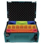 Makita MAKPAC 2 Systemkoffer + Boxeneinsatz mit farbigen Boxen P-83652 + Deckeleinlage Schaumstoff