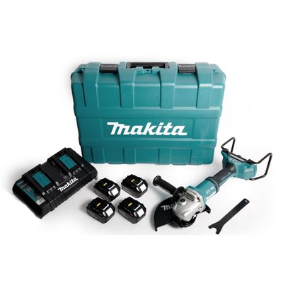 Makita DGA 901 PT4KU2 Akku Winkelschleifer 36V ( 2x18V ) 230mm im Koffer + 4x 5,0Ah Akku + Doppelladegerät – Bild 2