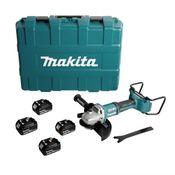 Makita DGA 900 M4KX2 36V/2x18V Li-Ion Akku Winkelschleifer Brushless 230 mm im Transportkoffer + 4 x 4,0 Ah Akku - ohne Ladegerät