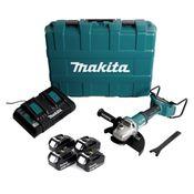 Makita DGA 900 PM4KX2 36V/2x18V Li-Ion Akku Winkelschleifer Brushless 230 mm im Transportkoffer + 4 x 4,0 Ah Akku + Doppelladegerät