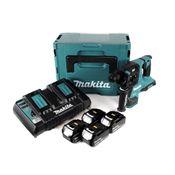 Makita DHR 280 PT4J 2 x 18 V 36 V Li-Ion Akku Bohrhammer Brushless 28 mm für SDS-PLUS im Makpac + 4 x 5,0 Ah Akku + Doppelladegerät