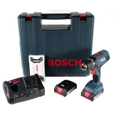 Bosch Professional GSR 18V-21 Bohrschrauber mit 2x GBA 2,0 Ah Akku + GAX 18V-30 Ladegerät ( 06019H1070 ) + 25 tlg. Bit-Set im Koffer