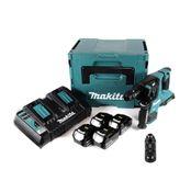 Makita DHR 281 PT4J Brushless Akku Bohrhammer 28 mm 2x 18 V für SDS-PLUS mit Schnellwechselfutter im Makpac + 4x 5,0 Ah Akku + Doppelladegerät