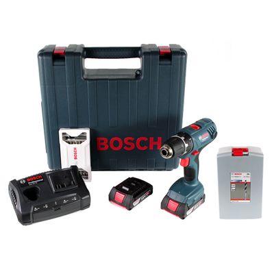 Bosch GSR 18 V-21 Li-Ion Akku Bohrschrauber Professional im Koffer + 2 x 2,0 Ah Akku + Ladegerät + 25 tlg. Bit Set + 25 tlg. Spiralbohrer Set – Bild 2