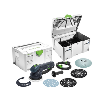 Festool RO 150 Getriebe Exzenterschleifer  CAMP-Set ( 575967 ) mit Festool Netzschleifmittel / 50 Stk. ( 203305 )+Festool Protection Pad ( 203343 )+Festool Systainer ( 497690 ) – Bild 2