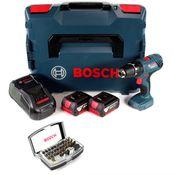 Bosch Professional GSB 18V-21 Akku Schlagbohrschrauber 18V 55Nm + 2x Akku 3,0Ah + Ladegerät + Bit-Set + L-Boxx