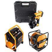 Bostitch RN46K-1-E CT Druckluft Nagler + RC10SQ-E Baustellen Kompressor + CPACK30 Druckluftschlauch 30m + Koffer