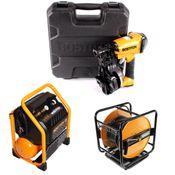 Bostitch RN46K-2-E Druckluft Nagler + RC10SQ-E Baustellen Kompressor 9,4 Liter + Druckluftschlauch 30m + Koffer