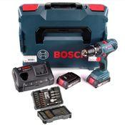 Bosch Professional GSB 18V-21 Akku Schlagbohrschrauber 18V 55Nm + 2x Akku 2,0Ah + Ladegerät + Bit-Set + L-Boxx